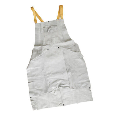 Flame Resistant White Thick Leather Welding Proctective Apron with Pocket