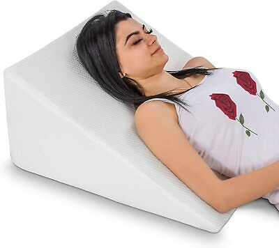 "Abco Tech Bed Wedge Pillow Memory Foam Top Reduce Back Pain Snoring 12"" Height"