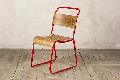 Pair Of Vintage Style Stacking Chair Stackable Restaurant Chair With Red Frame