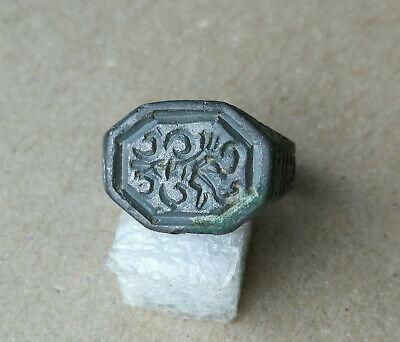Ancient Viking Old White Bronze FABULOUS STATUS Ring Runic Ornament VERY RARE