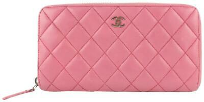 bef59ba35ec6 Chanel Quilted L-gusset Zip Around Wallet Pink Leather Clutch 5cz1002