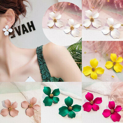 Fashion Boho Painting Big Flowers Ear Stud Earrings Women Glitter Jewelry New