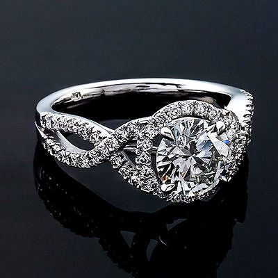 1.38 Ct Round Cut Natural Diamond Halo Style Engagement Ring 14K White Gold