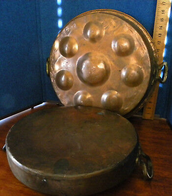 """Vintage LARGE 16.5"""" Hand Hammered Copper Egg Poaching Pan Lot Of 2 Pans"""