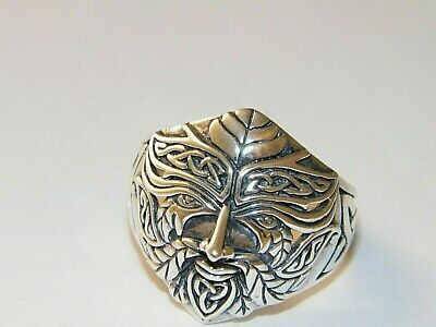 Handcrafted Oxidized.925 Sterling Silver Celtic Green Man Ring-Custom Size