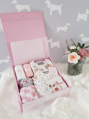 PERSONALISED 'Floral' New Baby Girl Gift Hamper, Baby Shower Gift Box LARGE