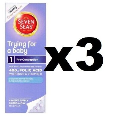 3 x 28 Seven Seas Trying For A Baby Vitamins one-a-day pills