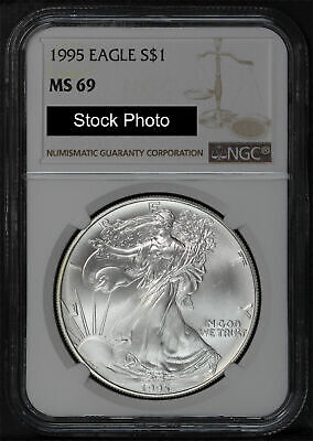 1995 American Silver Eagle NGC MS69 New Holder Brown Label Stock Photo