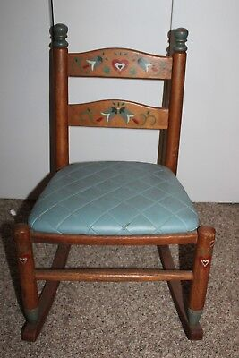 Vintage Styled By Phoenix Usa 1920's Children's Wooden Rocking Chair #93-27!