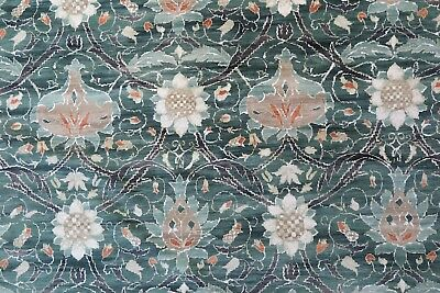"WILLIAM MORRIS CURTAIN FABRIC  ""Montreal"" 2 METRES FOREST AND TEAL VELVET"