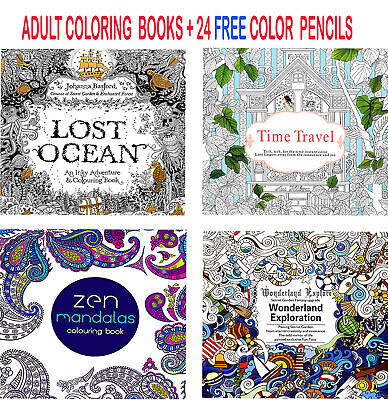 4 x Colouring Books Drawing Fun Creative Relax Art Children + 24 Colour Pencils
