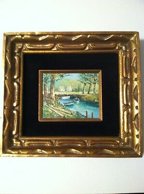 """Vintage Signed L. KOHN  Oil Painting on Panel 4""""x 5"""" Cabins Boats Pond in Woods"""