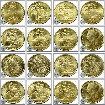 RESTRIKE Selection Of 13 Queen Victoria Gold Plated Full Sovereigns 1887 - 1900
