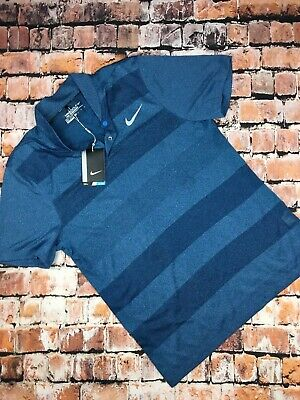 39997e60 NWT NIKE MEN'S DRY MOMENTUM FLY BLADE GOLF POLO SZ M Navy Blue Striped  799107