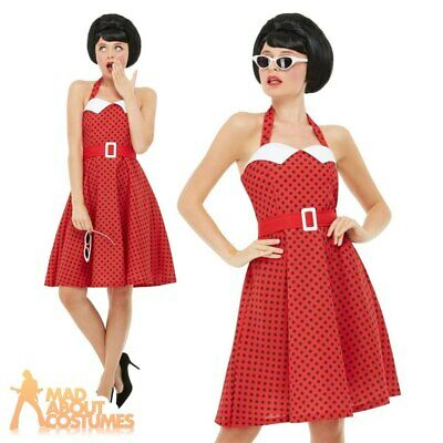 44712f428bd08 Adult Ladies 1950s Pin Up Girl Costume Vintage Rockabilly 50s Fancy Dress  Outfit