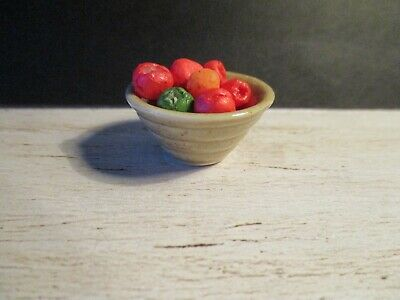 Dolls House Miniature Japanese Style Bowl With Tomatoes Light