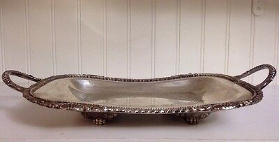 Vintage L Bros Old English Reproduction Ep On Copper Silver Plate Footed Tray