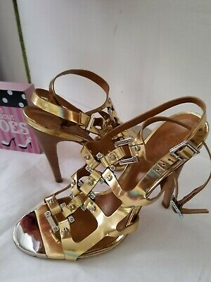 bbba38fc23f4 Tory Burch Size 7.5 Sandals Gold Gladiator High Heels Gold Francesca Shoes  EUC