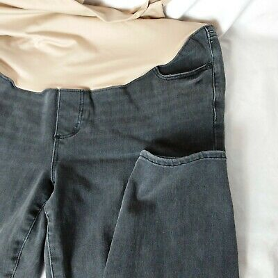 c2eddaa09eb8a Ann Taylor LOFT Sz 14 Maternity Gray Jeans Denim Full Belly Panel Ankle  Skinny