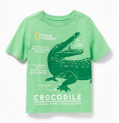 NEW National Geographic CROCODILE Toddler Boys Alligator Green Graphic Tee Shirt