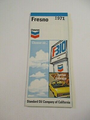 Stamped 1971 Chevron Fresno California City Street Gas Station Road Map~Box O