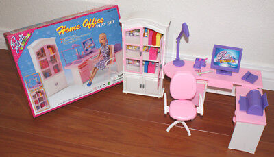 GLORIA FURNITURE Size DOLLHOUSE HOME OFFICE Shelf + Desk + Chair PLAYSET DOLLs