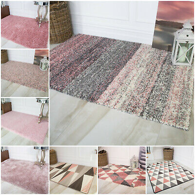Soft Fluffy Thick Blush Pink Shaggy Rugs Baby Pink Geometric Rug For Living Room