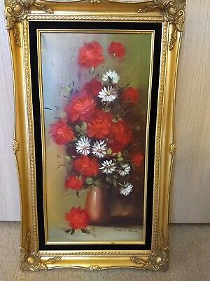 Robert Cox Oil On Canvas Floral Painting 12 X 24 Framed 17 1/4 X 29 1/4 Nice....