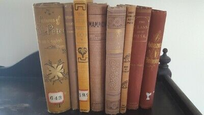 Lot of 8 Gold, lite brown early 19th Century Vintage Decorative Antique Books