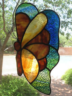 Vintage Stained Glass Butterfly Window Sun Catcher...Colorful & Lovely!