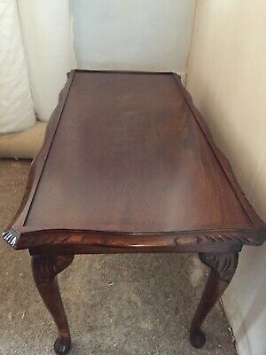 Antique Mahogany side/coffee table. Glass top.
