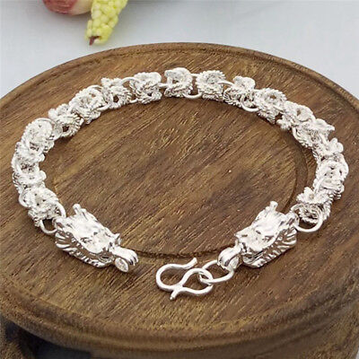 Fashion Silver Plated Dragon Design Bracelet Bangle Chain Men Bracelet Gift BR