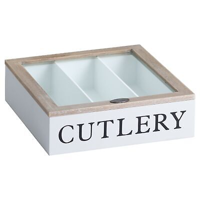 White Wooden Cutlery Box with Natural Wood Glazed Lid Storage Kitchen Dining
