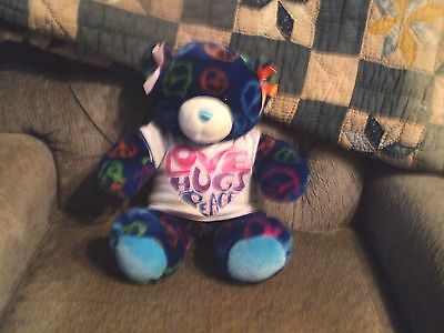 Build a Bear Love Hugs Peace Bear blue multi colored with clothes plush