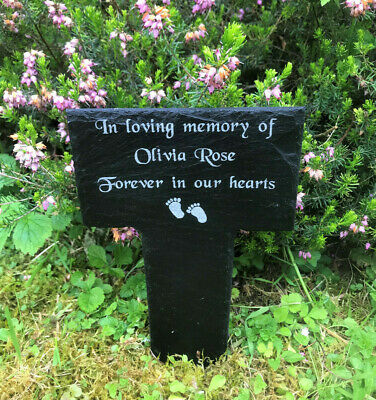 Personalised Engraved Slate Memorial Stake Grave Marker Baby Child Plaque