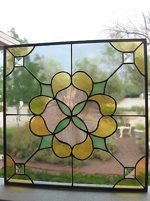 "Vintage Stained Glass Panel / Window Sun Catcher...14"" x 14"" Square...Lovely!"