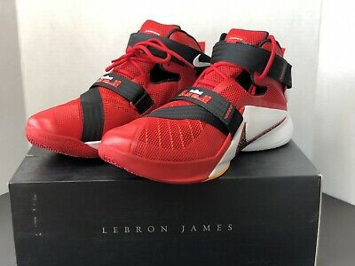 114ade4571bd Nike LeBron Soldier IX 9 Shoes Men s Size 11.5 Univ Red White Black 749417- 606