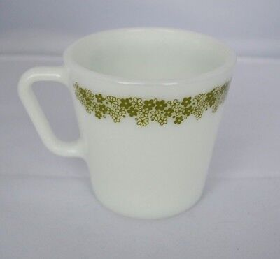 REPLACEMENT Vintage Pyrex Crazy Daisy Cups Mugs Green Flowers Glass 1410 White