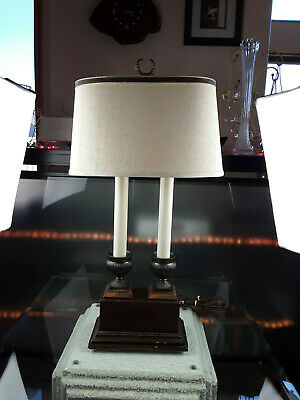Vintage Bouillotte Double Brass Candlestick on Wood Box Shade Finial Table Lamp