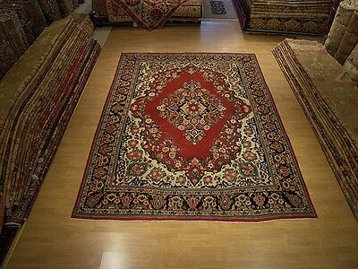 9 x 12 Hand Knotted Antique Persian Saruk Mahal Wool Rug - Beautiful Warm Colors