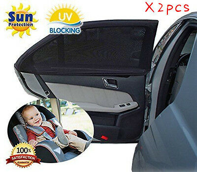 2x Car Rear Window UV Mesh Sun Shades Blind Kids Sun Visors Sunshade Blocker UK
