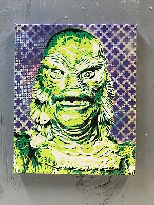 """The Creature From The Black Lagoon 8""""x10""""x1"""" Painting on Canvas - Art Monster"""
