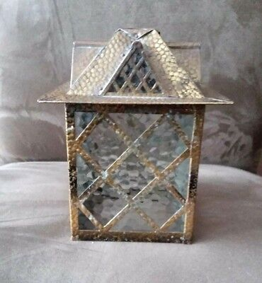 English Vintage Brass & Glass Panel Arts & Crafts Bungalow  Porch  Lantern