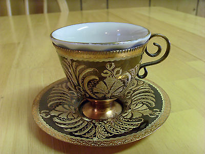 Vtg Turkish Ottoman Hand Etched Enameled Copper & Porcelain Coffee Cup,3 Pieces