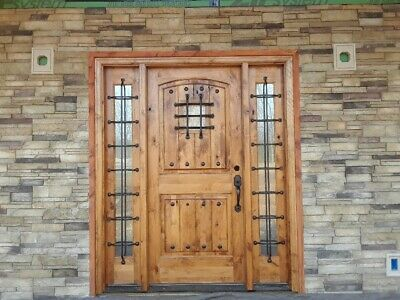 Knotty Alder Wood Entry Door With Full Lite Sidelites / Speakeasy And Clavos