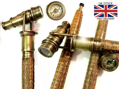 Brass Hidden Telescope Walking Stick Leather Engraved Canes with Compass on Top