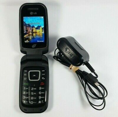 PREPAID LG 440G Black TracFone Cellular Flip Phone Cellphone with LG Charger