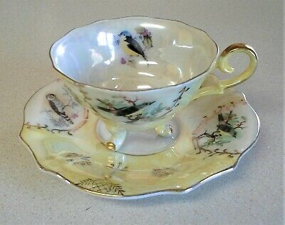 VINTAGE 3 Footed OPALESCENT Lusterware CUP & SAUCER w/ bird owl - NICE!