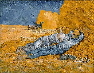 """VINCENT VAN GOGH Painting Poster or Canvas Print """"Noon, Rest From Work"""""""