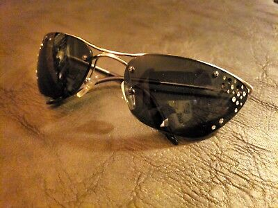 a3b91f96988a4 Womens Silver Wire Frame Dior Sunglasses with Black Lenses   Swarovski  Crystals